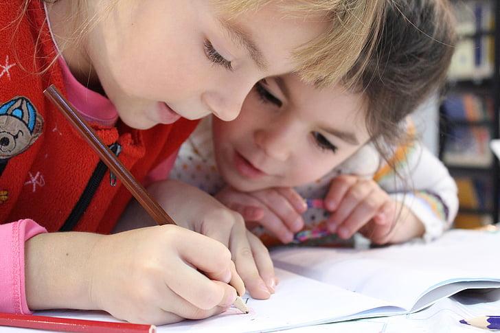bērniem, meitene, zīmulis, zīmējums, piezīmju grāmatiņas, pētījums, vdvoem