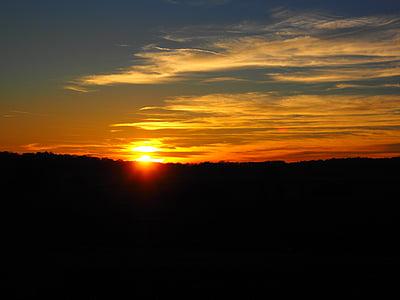 západ slnka, slnko, oblaky, Sky, reflexie, dosvit, večernej oblohe