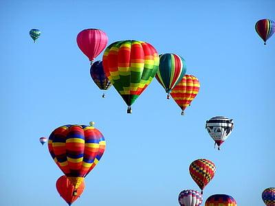 varmluftsballonger, Hot-air ballooning, händelse, luftballong, flygande, korg, luft