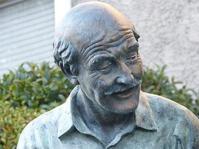 old man, elderly man, sculpture, statue, grandfather, senior, aged