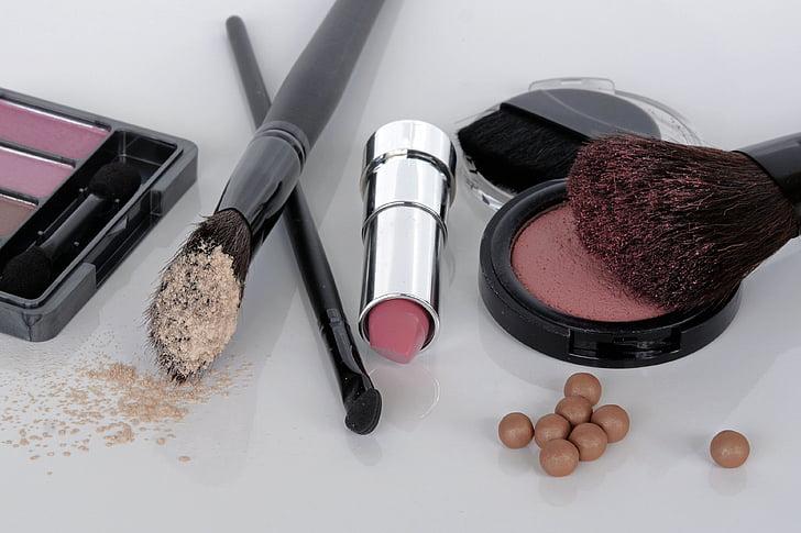 kosmeetika, lauvärv, Rouge, harja, huulepulk, moodustavad, Ilu