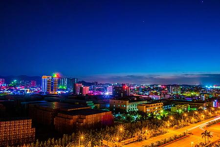 night view, light, twilight, lights, pingshan, shenzhen, guangdong