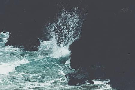 natur, vann, krasjer, bølger, hav, blå, sjøen