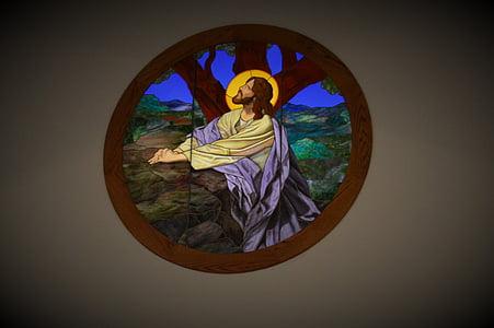 Gebrandschilderd glas, kerk, God, Jezus, Glasraam, religie, Christendom
