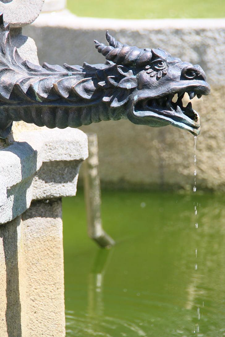 figure, dragon, fountain, water, symbol, animal, traditional