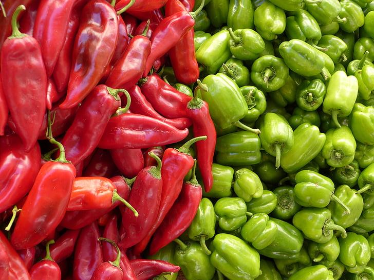 paprika, grön, röd, grönsaker, röd paprika, grön paprika, försäljning