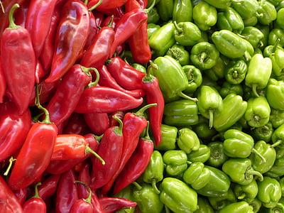 paprika, roheline, punane, köögiviljad, punane pipar, roheline paprika, müük