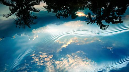 Wasser, Reflexion, Himmel, Natur, Blau, Sommer, ruhigen