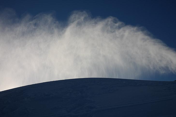 hó, hó, eső, spray, köd, nap, vissza a fény, hó ágyú