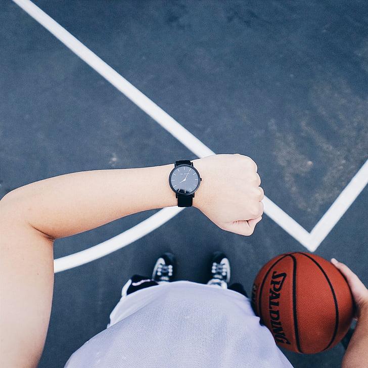 reloj, baloncesto, deporte, activo, formación, tiempo, bola
