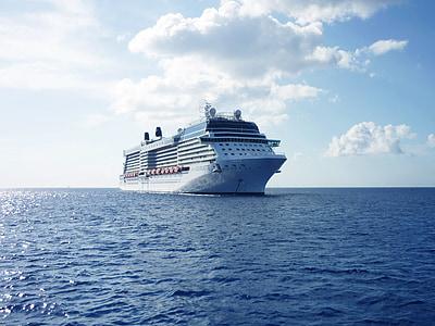 skib, krydstogt, ferie, havet, vand, krydstogter, på søen
