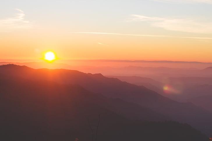 dimma, bergskedja, naturen, siluett, solen, soluppgång, solnedgång
