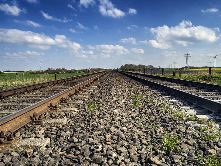 semblava, gleise, vies del ferrocarril, vies del tren, grava, paisatge, ferrocarril