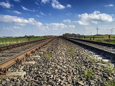 seemed, gleise, railway tracks, railroad tracks, gravel, landscape, railway
