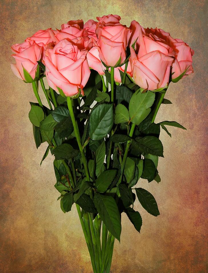 ramo de cumpleaños, cumpleaños, ramo de la, flores, Rosas, ramo de la boda, día de San Valentín