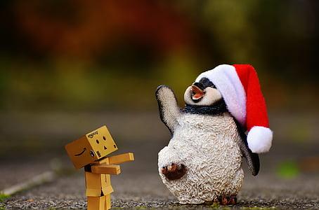 пингвин, фигура, Коледа, Дядо Коледа шапка, декорация, Смешно, животните