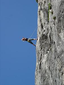 climb, rock, climber, rope, sport, climbing rope, rope up