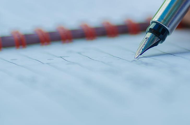 nib, pen, parker, ink, paper, writing, fountain