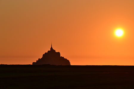 slott, Dawn, skymning, Frankrike, ön, Mont-st-michel, Normandie