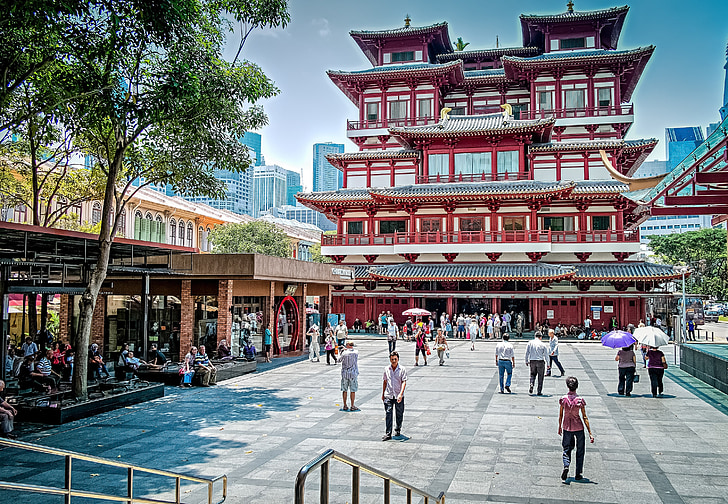china town, singapore, asian, temple, people, shopping, building
