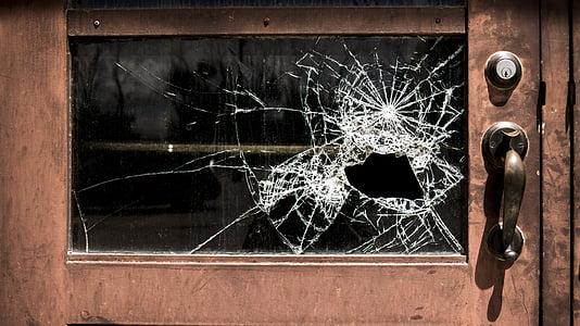 壊れた, ガラス, 学校, 破損しています。, ウィンドウ, 犯罪, ガラスの破片