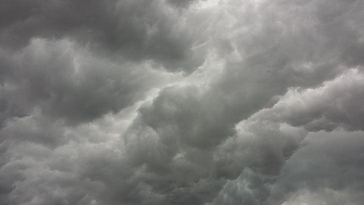 тучи, облака, гроза, серый, небо, мрачный, Шторм