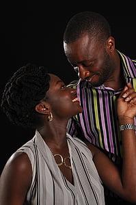 parella, africà, negre, junts, Àfrica, l'amor, home