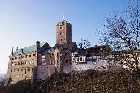 Wartburg замок, Замок, Лицарський замок, середньовіччя, Німеччина, Орієнтир, ранок