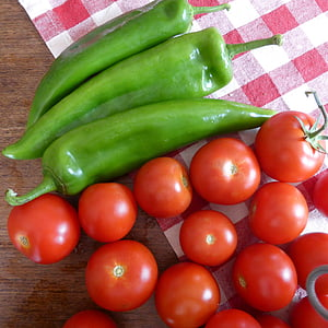 tomàquets, vermell, pebre vermell, verd, aliments, verdures, menjar
