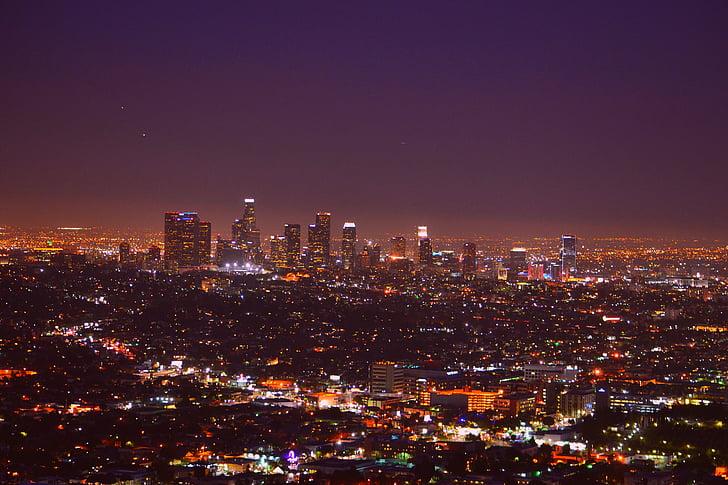 Los angeles, đường chân trời, Hoa Kỳ, Nhà trọ, thành phố đêm, chuyến đi thành phố, đèn chiếu sáng ban đêm
