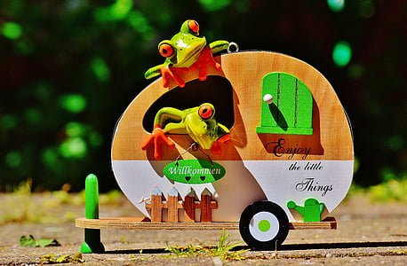 frogs, caravan, funny, travel, luggage, trolley, holidays
