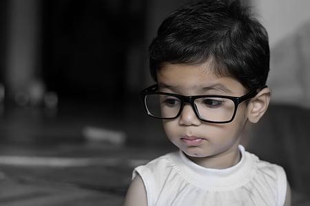 Dziewczyna, dziecko, Okulary, Okulary