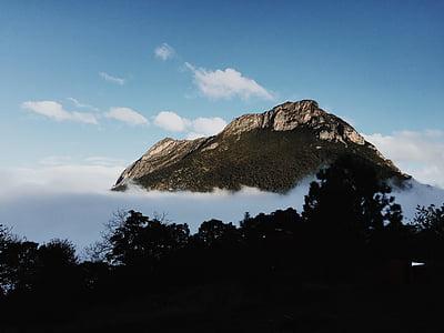 núvols, boira, paisatge, muntanya, cim de la muntanya, natura, muntanya rocosa