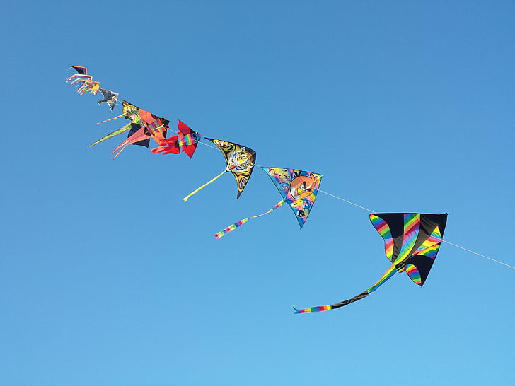 Sky, cerfs-volants, Dom, vent, Flying, kite - jouet, bleu