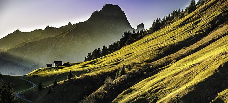 paisatge, muntanyes, abendstimmung, alpí, muntanya, natura, representacions