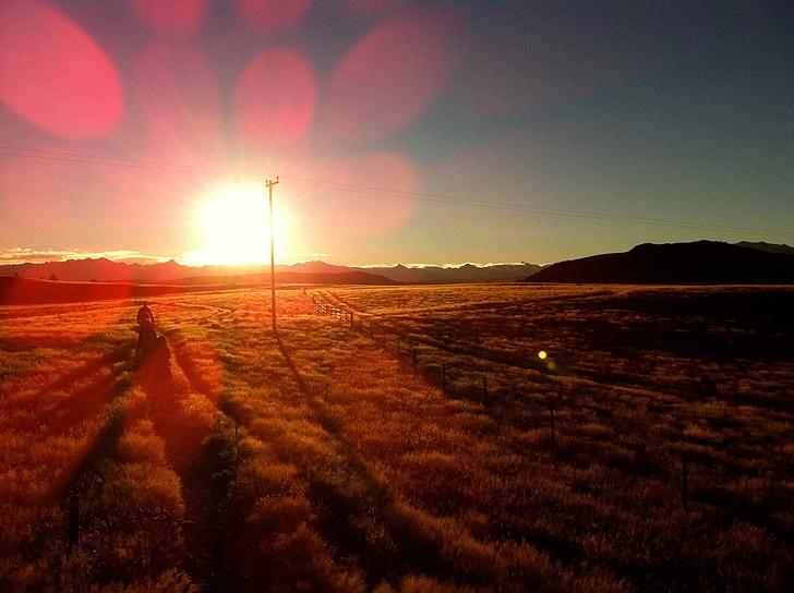 posta de sol, bokeh, viatges