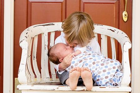 frères, garçons, enfants, bébé, nouveau-né, amour, famille