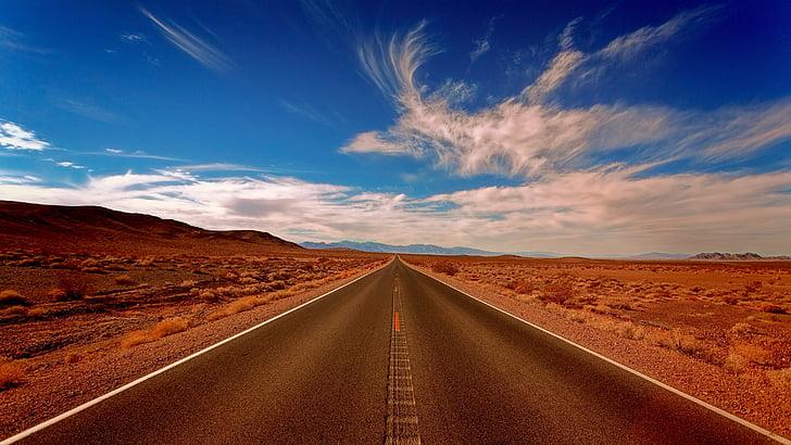 paisatge, Highland, desert de, blau, cel, núvols, carretera