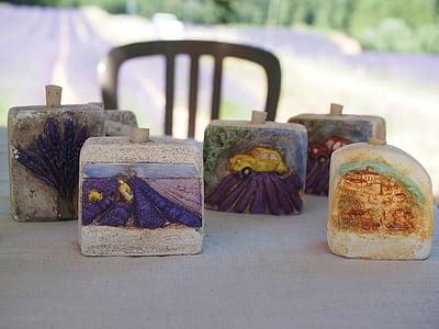 薰衣草田, 石头, 内存, 纪念品, 出售, 普罗旺斯, 薰衣草油