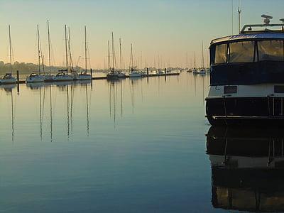 dimineata, Dawn, Răsărit de soare, peisaj, Râul, apa, barci