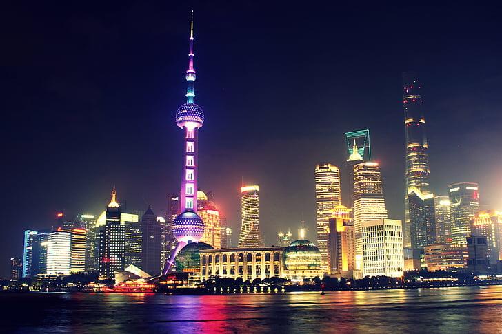 Azja, budynki, Chiny, Miasto, gród, biurowce, światła