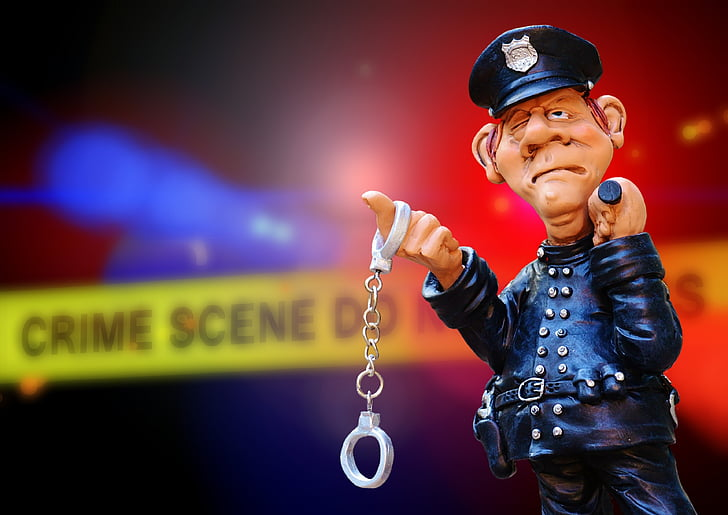 police, crime scene, blue light, discovery, handcuffs, arrest, criminal case