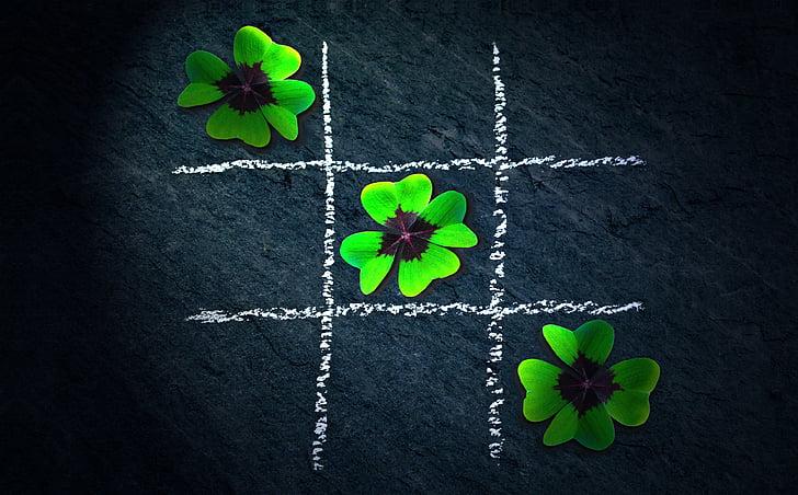 Klee, štyri leaf clover, Leaf clover šťastie, tic tac toe, hádanky, puzzle, spájanie