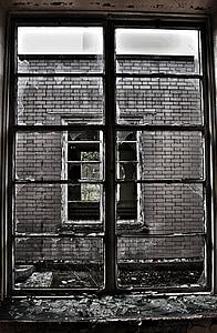 壊れた窓, ガラス, フレーム, ウィンドウ, 壊れた, 古い, 破損しています。