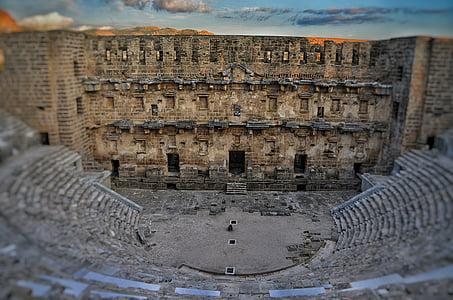 seno, arhitektūra, Aspendos, ēka, vēsturiskas vietas, ārpus telpām, romiešu teātris