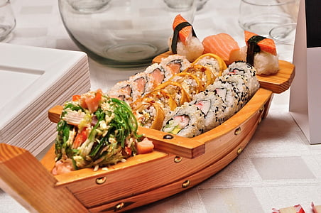 aliments, sushi, vaixell, marisc, japonès, peix, arròs