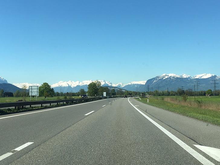 autocesta, alpski, ceste, prijevoz, asfalt, dan, Zračna luka
