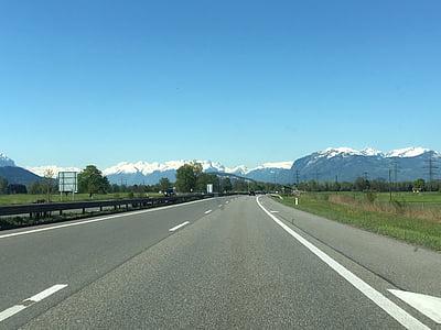 l'autopista, alpí, carretera, transport, asfalt, dia, l'aeroport