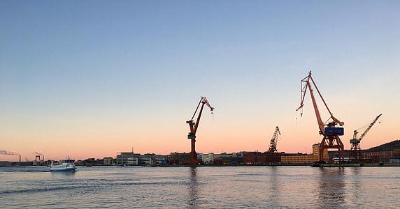 Göteborg, morgonsolen, hamn, Stenpiren