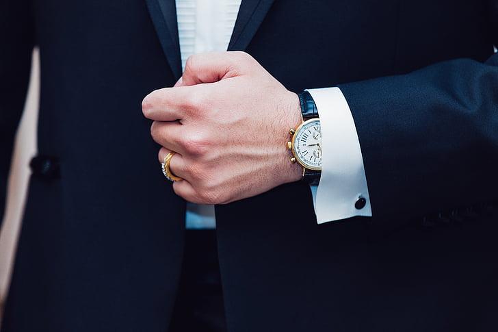 muž, nosenie, hodinky, oblek, bunda, ľudia, móda